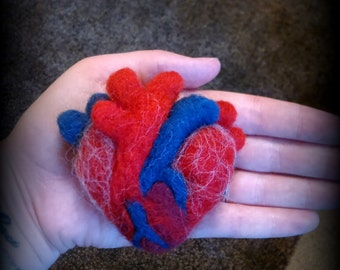 Large Anatomical Felted Heart Brooch