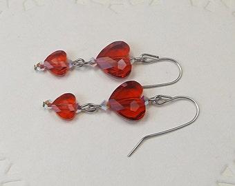 Red Heart Earrings, Red Crystal Earrings, Heart Dangle Earrings, Crystal Dangle, Stainless Steel, Swarovski Crystal Hearts, Red Earrings