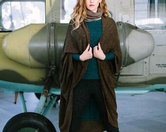 Minimalist Wool Vest | Warm Drape Cardigan by Sarta designs