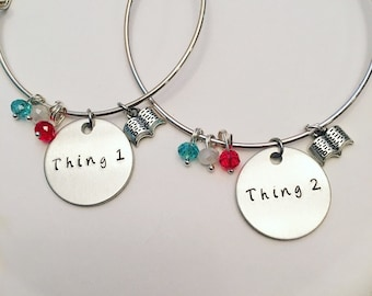 Thing 1 and Thing 2 Dr. Seuss the Cat in the Hat Friendship and Sisters Bracelets Hand Stamped Adjustable Bangle Charm Bracelet