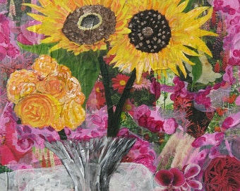 "Mixed Media Collage Art ""Sunflowers"""