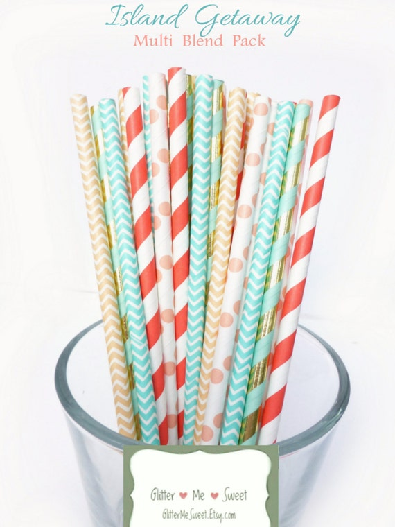 Coral And Turquoise Wedding Decor Paper Straws Coral