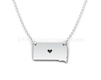 South Dakota Necklace - South Dakota pride, sterling silver I heart South Dakota, South Dakota charm