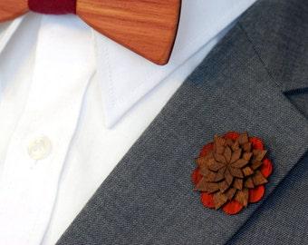 Padauk and Walnut Lapel Pin - Wood Lapel Pin - Mens lapel flower