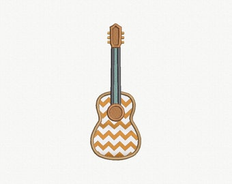 Guitar Applique Machine Embroidery Design - 4 Sizes