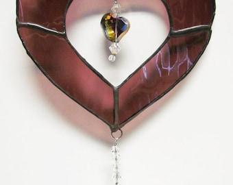 Stained Glass Heart Suncatcher, Purple Heart Suncatcher, Glass Heart