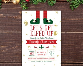 5 x 7 PRINTABLE Let's Get Elfed Up Christmas Party Invitation. Framily Christmas Invitation. Funny Holiday Party Christmas Invitation.