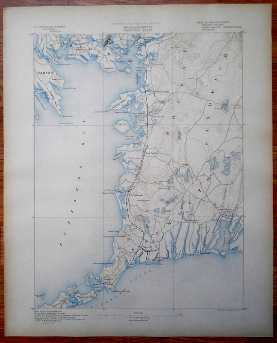 Antique Map Cape Cod Sandwich Bourne Falmouth Maquoit