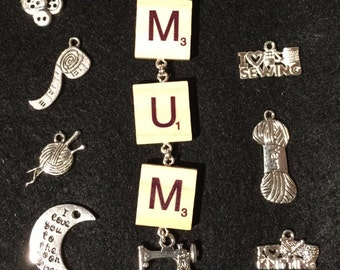Scrabble Tile Key Ring MUM Choice of Charm