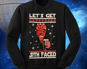 Lets Get Sith Faced  Star Wars Ugly Christmas Sweater Style May The Force Be With You