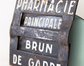 1940s French Business Steel Sign - Rustic Pharmacy Sign - Free Shipping Wihin the USA