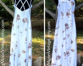 Vintage Boho SUNDRESS, Open Back Interest Criss-Cross, Button-down Rayon Maxi/Midi, WHITE BROWN Roses Flowers, 90s Indie Hippie Chic, 10/M/L