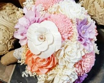 Weddings, Bouquets, Sola Bouquet, Burlap Lace, Pastels, Lavender Peach Pink Bouquet,Alternative Bouquet, Bridal Accessories,Keepsake Bouquet