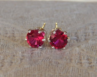 Ruby 6mm Studs, Red Ruby Stud Earrings, Ruby Earrings, Ruby Posts, Ruby Post Earrings, Red Rubies, July Birthstone, Lab Created Ruby