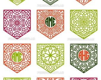 Pocket Circle Monogram Frame Mandala SVG Cut Files for Vinyl Cutter - Cricut, Silhouette, Screen Printing - svg, eps, dxf, png, studio3