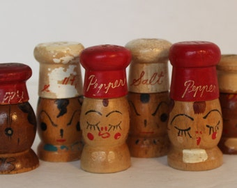 Vintage Wooden Chef Heads Salt and Pepper Shakers Instant Collection