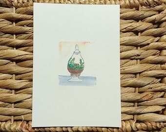 Tiny Terrarium Series: Candy dish Terrarium, Watercolor Print