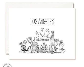 Los Angeles - LA - Black and White Illustration Card - Set of 10 - A2 Blank