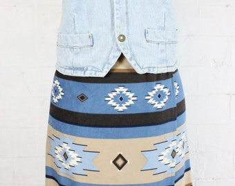 Blue Brown Apache Skirt Navajo Pattern Print Blanket Womens Size 8 - 10