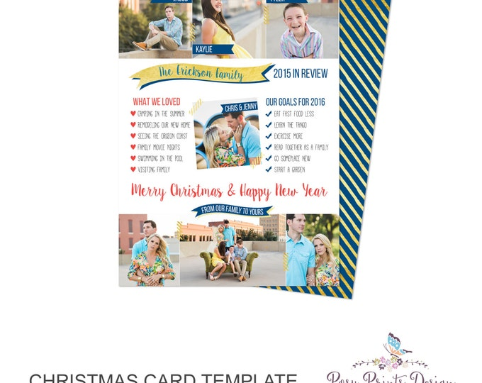 Year In Review Christmas Card Template - 5x7 Photo Card - Photoshop Template - INSTANT DOWNLOAD or Printable - YIR02