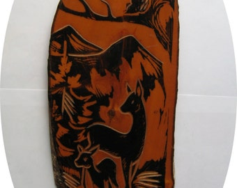 Vintage old Soviet drawing on a birch wooden board.Lacquered.USSR 1981