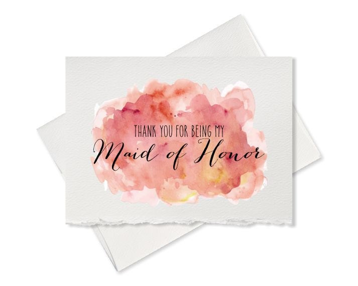 Thank You For Being My Maid Of Honor Thank You Card From Bride To