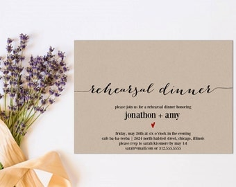 Rehearsal Dinner Invitation, Wedding Rehearsal Editable Template, Rehearsal Invitation, PDF Instant Download, Modern Soiree, WSET2