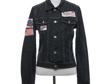 Patched Diesel Denim Jacket Size Small