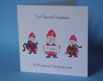 Personalised Handmade 3 Father Xmas Christmas  Card