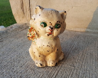 Antique Hubley Cast Iron Sitting Cat with Bowtie Bank