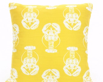 SALE Yellow Pillow Covers Decorative Throw Pillows Cushions Corn Yellow White Lobster Pillow Nautical Pillow Beach One or More All Sizes