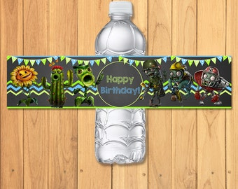 Plants Vs Zombies Drink Label Chalkboard * Plants Vs Zombies Water Bottle Label * PVZ Party Favors * Plants Vs Zombies Birthday Party