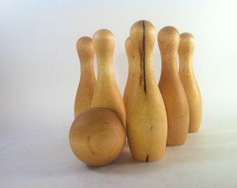 Wooden Bowling Set // Waldorf Meets The Big Lebowski // Table Top Skittles // Natural Handmade Classic Toys
