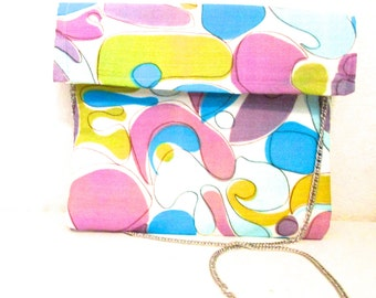 cross body bag made with vintage fabric - shoulder bag - silver chain shoulder strap -gift for friend