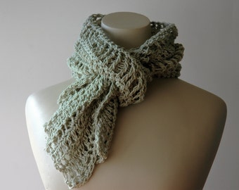 Cotton lacy scarf / light green / summer scarf / moss green