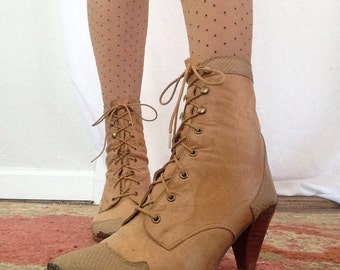 Vintage Rushhour Lace Up  Ankle Boots | Cuban Heel | Snake Skin | Steel Toe | Star | Tan