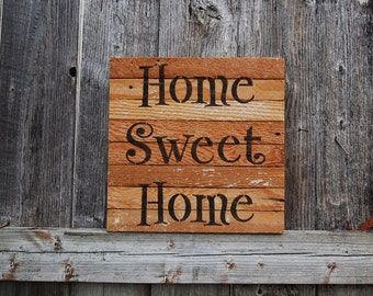 Home Sweet Home - Wood Lath Sign by Minty Daisy