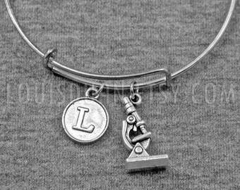 Laboratory Microscope Bracelet -Science Bangle -Initial Bracelet -Your Choice of A to Z