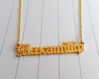 Personalize Old English Name Necklace,Old English Necklace Gold,Custom Name Necklace,Old English Jewelry,Christmas Gift