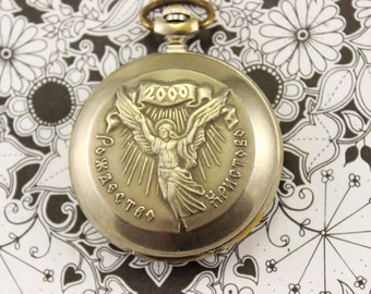 """Vintage Pocket Watch MOLNIJA Russian with the IMAGE """"Christmas"""" MELCHIOR"""