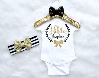 Baby Girl Monogram Outfit Set. Custom Baby Outfit. Name Baby Clothing. Baby Headband. Baby Girl Birthday Outfit. Personalized Bodysuit
