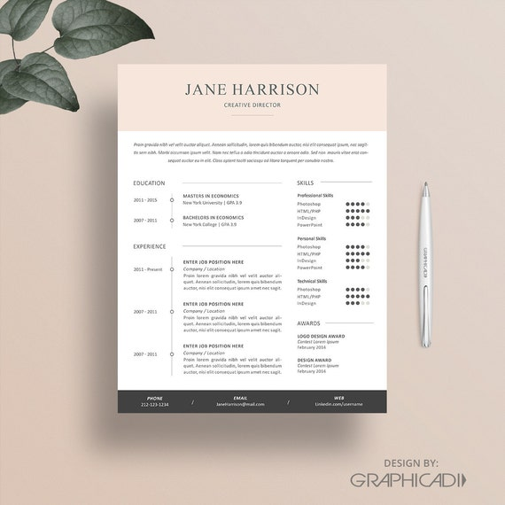 Resume Template - Cover Letter Template - Word Resume Template - CV ...