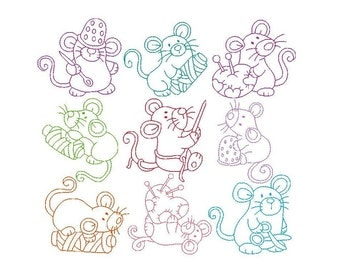 Sewing Mice Machine Embroidery Designs, Set of 10 Cute Linework Mice Embroidery Designs, Sewing Mouse, 4x4, INSTANT DOWNLOAD, No: JG00048