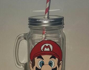 Hand painted Mario drinking jar.