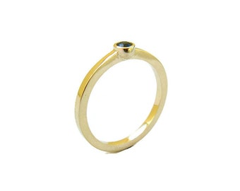 Sapphire Gold Ring, Minimalist Engagement Ring, 14k Solid Gold Ring, Bezel, Simple, Flat Band, Sapphire Jewelry