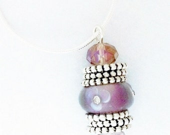 """Pendant necklace - pink, white, and silver, 20"""""""