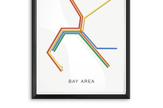 Sf Bay Area Transit Map Poster San Francisco Train Oakland