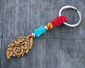 Tree Leaf Keychain,Chinese Good Fortune Keyring,Turquoise Bead , Macrame Friendship, Hemp Keychain, Handmade Keychain,Good Lucky, Feng Shui