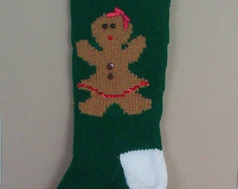 Personalized Knitted Gingerbread Girl Christmas Stockings for 2017