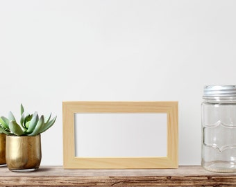 """4x8x1"""" Picture Frame Glass & Backing, Unfinished Wood frames Art frames, Craft frame, Picture Frame, Panoramic Photo Frame, Artisan frames"""